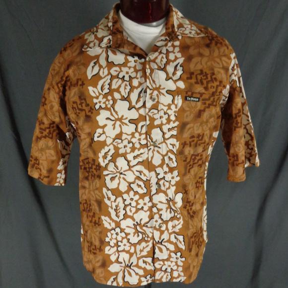 Te Mana Other - Te Mana Brown Cotton Hibiscus Hawaiian Shirt  XL